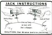 1964 GTO/TEMPEST/LEMANS JACK INSTRUCTION DECAL