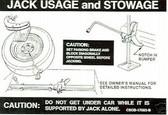 1968 1969 FAIRLANE JACK INSTRUCT W/REG WHEEL DECAL
