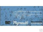 1967 67 PLYMOUTH BELVEDERE OWNER'S MANUAL