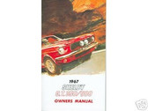 1967 67 SHELBY G.T. 350/500 OWNER'S MANUAL