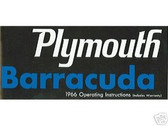 1966 66 PLYMOUTH BARRACUDA OWNER'S MANUAL