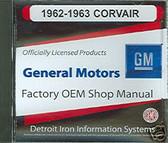 1962 1963 CORVAIR SHOP & PARTS MANUAL ON CD