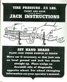 1950 CADILLAC JACK INSTRUCTION DECAL