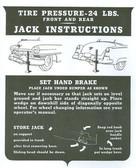 1951 52 CADILLAC JACK INSTRUCTION NOTICE