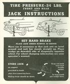 1953 CADILLAC JACK INSTRUCTION NOTICE
