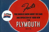 1938 PLYMOUTH PASSENGER CAR OWNER'S MANUAL
