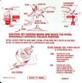 1971 BUICK RIVIERA JACK INSTRUCTION DECAL