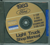 83 FORD TRUCK SHOP REPAIR MANUAL ON CD-F-150 F-350 BRONCO ECONOLINE, E-100/ 350