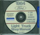 84 FORD TRUCK SHOP REPAIR MANUAL ON CD-F-150 F-350 BRONCO ECONOLINE, E-100/ 350