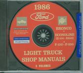 86 FORD TRUCK SHOP REPAIR MANUAL ON CD-F-150 F-350 BRONCO ECONOLINE, E-100/ 350
