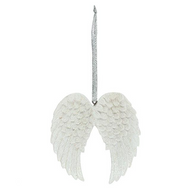 Double Glittered Angel Wing Hanging Ornament