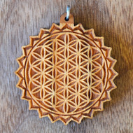 Flower of Life Mandala Hardwood Pendant