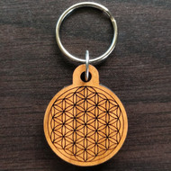 Flower of Life Hardwood Keychain