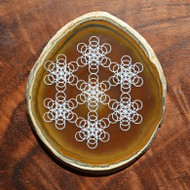 Truncated Fruit of Life Grid Design - Laser Engraved Agate