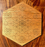 Hardwood Crystal Grid - Seed of Life Matrix