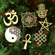 Sacred Symbols Holiday Ornaments - Set of Seven - Laser Cut Wood
