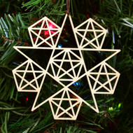 5 Sided Star Fractal Ornament - Sacred Geometry - Laser Cut Wood