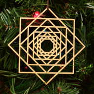 8 Sided Star Fractal Ornament - Sacred Geometry - Laser Cut Wood