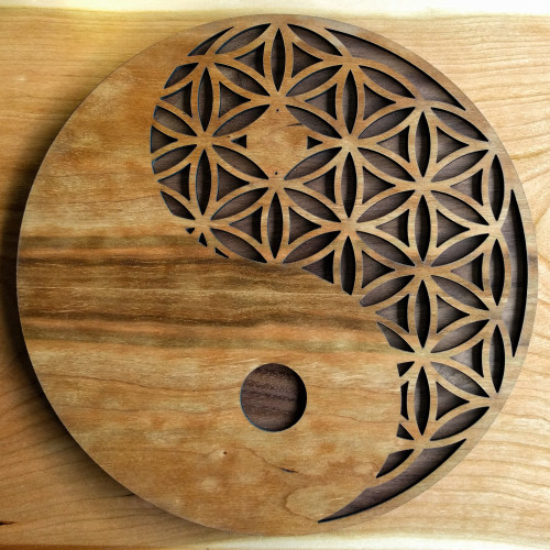 Yin Yang Flower of Life Wall Art - LaserTrees
