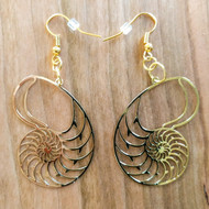 Nautilus Shell Earrings - 18 Karat Gold Plated