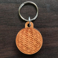 Flower of Life Orb Hardwood Keychain
