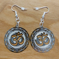 Om Earrings - Silver Plated