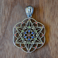Star Tetrahedron Hexagon Seed of Life - Silver Plated Pendant with Rainbow Gemstones