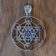 Metatron's Cube - Silver Plated Pendant with Rainbow Gemstones