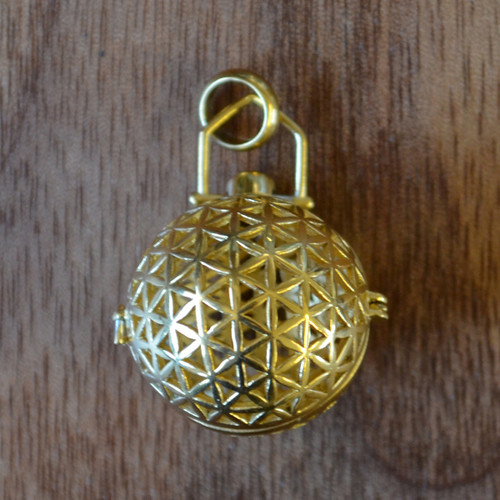 Flower of life sphere gold plated aromatherapy pendant lasertrees aromatherapy pendant image 1 aloadofball Gallery