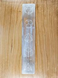 Platonic Solids Engraved Selenite