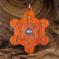 Metatron's Cube Hardwood Pendant in African Padauk with 6mm Labradorite
