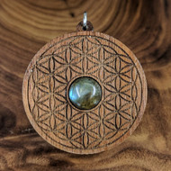 Flower of Life Hardwood Pendant in Walnut with 12mm Labradorite