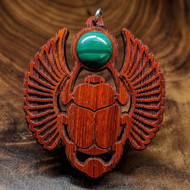 Sacred Scarab Hardwood Pendant in African Padauk with Malachite