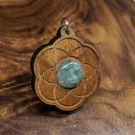 Seed of Life Hardwood Pendant in Walnut with Prehnite