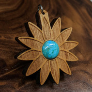 Seed Lotus Hardwood Pendant in Cherry with 12mm Turquoise