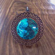 Hexachain Hardwood 30mm Gemstone Pendant