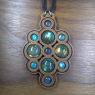 Labradorite on Walnut Hardwood