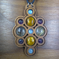 'Layered Multi-Orb' Rutilated Quartz, Tigereye, Amethyst, Moonstone Walnut Hardwood Gemstone Pendant