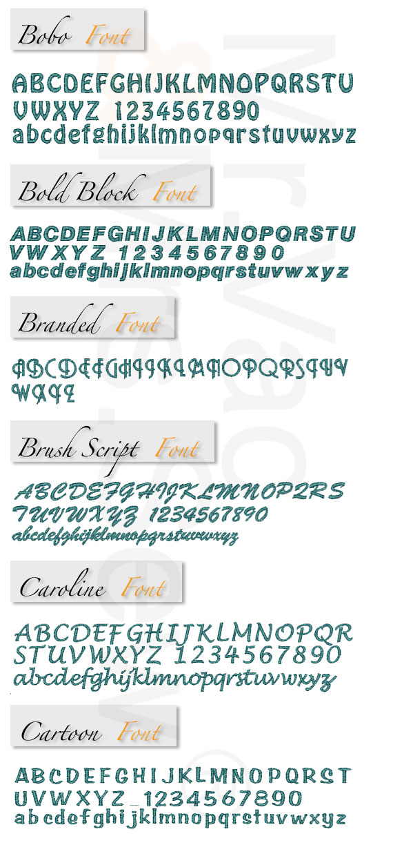 Monogram Wizard Built-In Embroidery Fonts Page 2