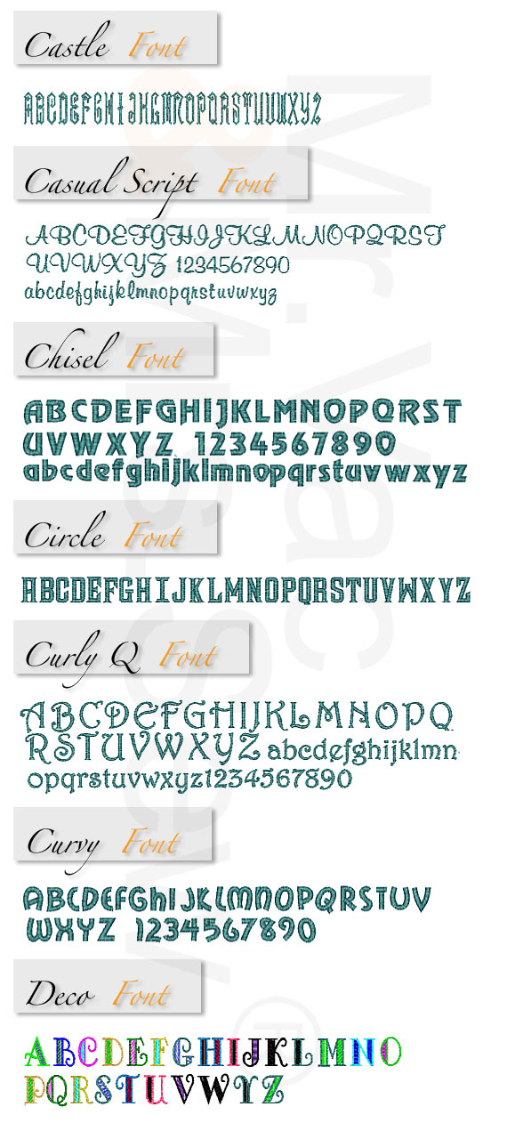 Monogram Wizard Built-In Embroidery Fonts Page 3