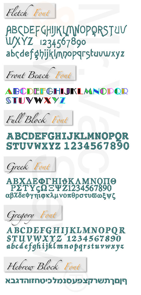 Monogram Wizard Built-In Embroidery Fonts Page 5