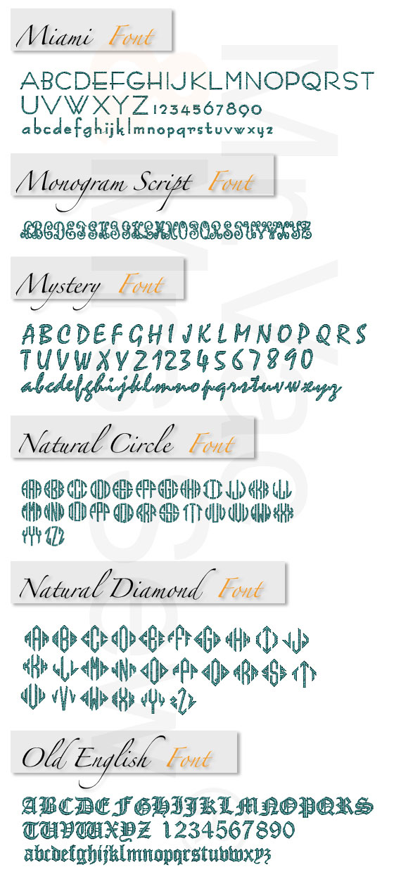 Monogram Wizard Built-In Embroidery Fonts Page 7