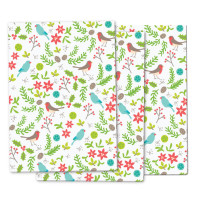 Beautiful Christmas Birds wrapping paper - a retro-style floral pattern