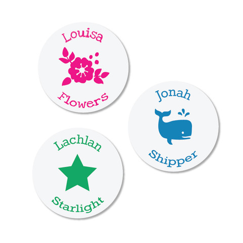 Super-cute Round Iron On Labels to name kids' clothes