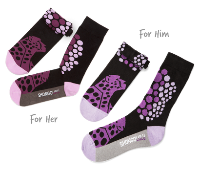 His & Her's Sock Set - Cheetah Purple