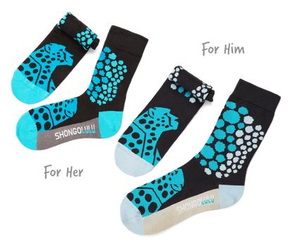 His & Her's Sock Set - Cheetah Teal