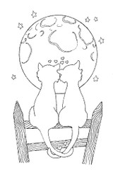 Moon Cats Rubber Stamp - 82A04