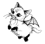 Flying Cat Rubber Stamp - 80A07