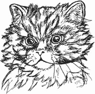 Cat Face Rubber Stamp - 5A22