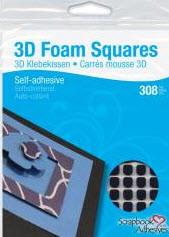 """Black 3D Foam Squares 1/4"""""""